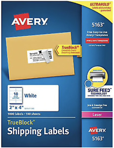 Avery Laser Shipping Address Labels 2 X 4 White 880 Labels 3 1 2 250 Ct Packs