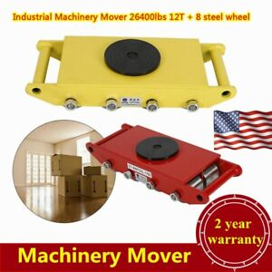 Yellow red 12t Heavy Duty Machine Dolly Skate Roller Machinery Mover Steel Wheel