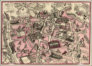 1937 Pictorial Map Hollywood Street Film Producers Director Studios Poster 53133