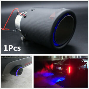 1x Carbon Fiber Stainless Steel Car Exhaust Muffler Pipe Tip With Blue Led Light