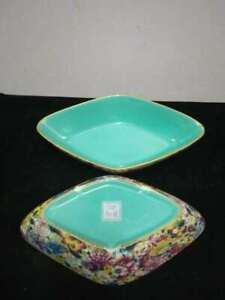 A Pair Of Exquisite Antique Chinese Cloisonne Porcelain Flowers Plates Ware