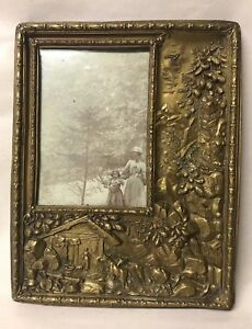 Antique Picture Frame Embossed Repousse Gilt Copper Relief Cows Farm Figural