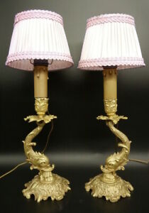 Pair Of Lamps Dolphins Decor Rococo Style Era 19th Bronze French Antique