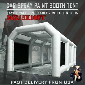 26x13x10ft Large Mobile Portable Gray Inflatable Car Spray Paint Booth Tent Us