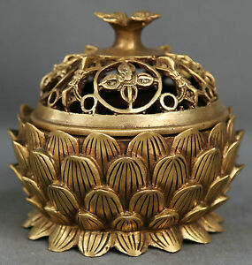 Chinese Buddhism Temple Palace Bronze Carved Lotus Incense Burner Censer