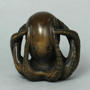 19th Japanese Handmade Boxwood Wood Netsuke Alien Octopus Figurine Carving 03