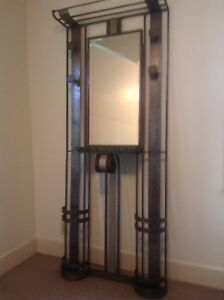French Art Deco Coat Rack Umbrella Stand With Mirror And Marble Shelf
