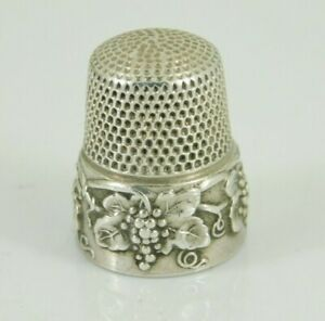 Vintage Antique Simons Brothers Sterling Silver Grape Pattern Thimble Size 9