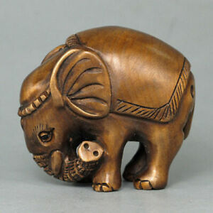 19th Japanese Handmade Boxwood Wood Netsuke Cute Elephant Figurine Carving