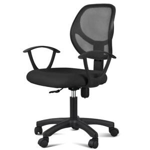 Adjustable Swivel Office Chair Mid back Mesh Computer Desk Chair W arms Backrest