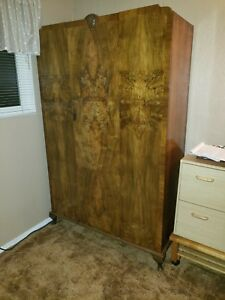 Large Antique Burl Wood Wardrobe Armoire
