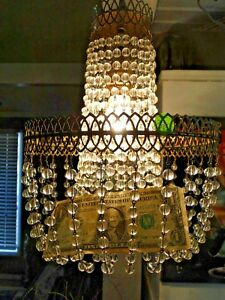 736 Antique Vintage Small French Basket Style Crystal Chandelier Lamp 19 X 10