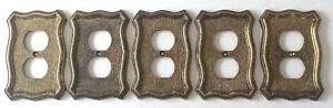5 Nos Vtg 1968 American Tack 70d Metal Brass Finish Wall Plate Cover Outlet Plug