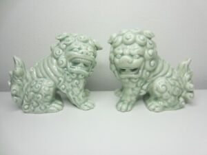 Porcelain Foo Dogs Shishi Lions Salt And Pepper Shakers Gorgeous Celadon