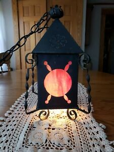 Antique Spanish Revival Gothic Pink Slag Glass Wrought Iron Hanging Light