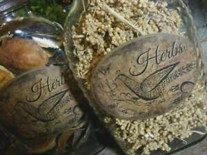 2 Rustic Farmhouse Glass 1807 Herb Pantry Jars With Shoo Fly Dome Metal Cap