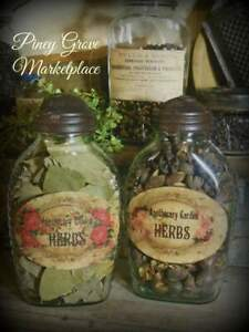 Rustic Farmhouse Glass Apothecary Herb Pantry Jars With Shoo Fly Dome Caps