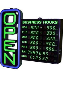 Led Open Sign For Business With Hours Flashing Effects 18 x18
