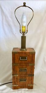 Vintage Rare Oak Wood 3 Drawer Miniature Chest Table Lamp W Brass Fittings