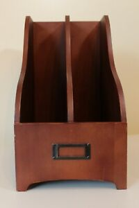 Wooden Magazine File Holder Double Slot With Attached Metal Label Slot