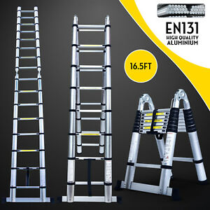 16 5ft Aluminium Ladders Telescoping Multi purpose Extension Folding Step Ladder