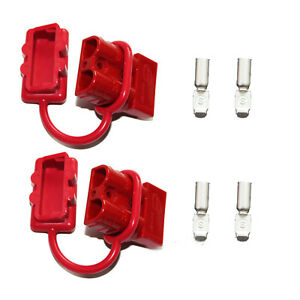 Pair Battery Quick Disconnect Connector Plug Cap Wire Winch Trailer Kit 50a 6awg