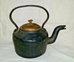 Antique J J Siddons Bromwich Cast Iron Gooseneck Tea Kettle