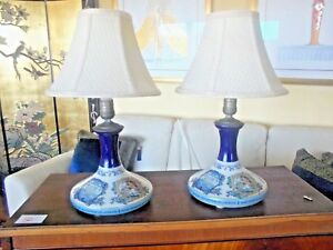 Rare Pair Wade Staffordshire England Table Lamps W Shades Vintage Nautical Euc