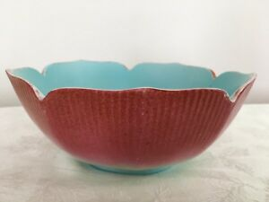 Chinese Porcelain Bowl Old Vintage Red Blue Qianlong China Peach Lotus Marked