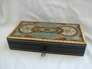 Antique French Inlaid Wood Brass Sewing Box Napoleon Iii Period