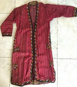 Silk Ikat Ttajikistan Ethnic Hand Embroidered Red Chapan Robe 111x 125cm