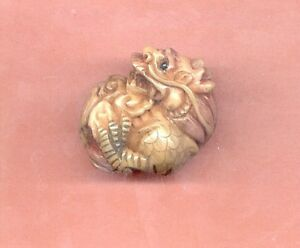 Curled Dragon Netsuke Hand Carved Tagua Nut 625