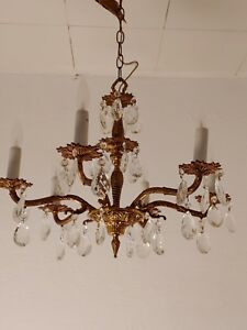 Vintage Ornate 30s Spanish 5 Arm Solid Brass Chandelier Lots Of Crystals