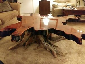 Tennessee Cypress Wood Coffee Table Live Edge Slab On Root Base 60 Wx54 Wx19 H
