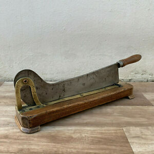 Vintage French Restaurant Wooden Bread Slicing Board Guillotine Old 19021911