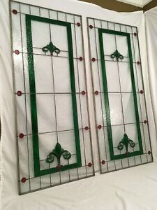 Vtg Pair Stained Glass Jeweled Windows Leaded Arts Crafts Panel Fleur De Lis