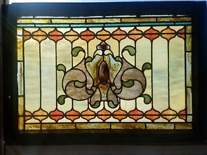 Antique Victorian Stained Glass Window 22 By 32