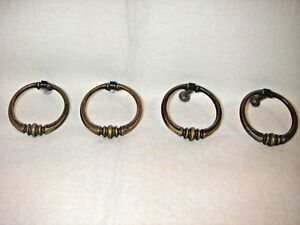 4 Antique Brass Drawer Cabinet Furniture Round Drop Ring Pull Handles