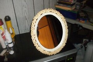 Vintage Decorative Oval Resin Vanity Mirror With Stand 12