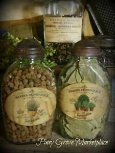 Rustic Farmhouse Glass Garden Herb Pantry Jars With Shoo Fly Dome Metal Cap