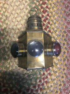 Antique Brass Simplex Oil Lamp Ship Boat Captains Lantern