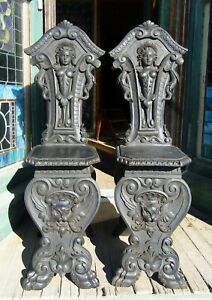 Pair Of Victorian Figural Side Chairs Horner Quality