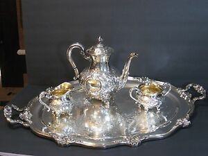 Reed Barton Regent 5600c Hand Chased Silverplate 4 Pc Tea Coffee Service Rare