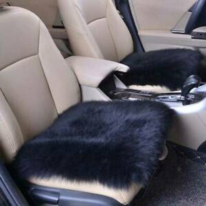 Black Front Car Seat Covers Blend Wool Fur Furry Warm Car Seat Pad Cushion