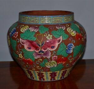 Old Or Antique Chinese Yixing Polychrome Enameled Jar Butterflies Finger Citron