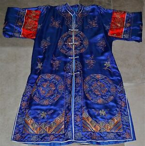Old Chinese Silk Ladies Robe With Gold Thread Embroidery Sleeve Bands