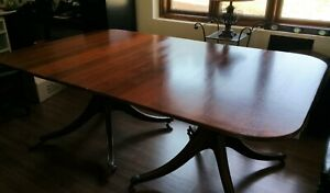 English Mahogany Double Pedestal Banquet Dining Table With 1 Leaf 1800 S