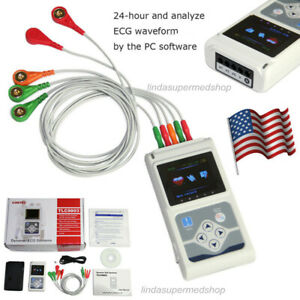 3 channel 24 Holter Monitor Ecg ekg System Machine software Analyse Tlc5007 Usa