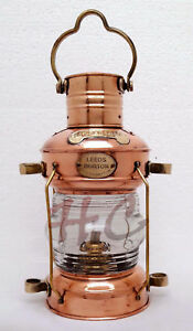 Brass Copper Anchor Oil Lamp Leeds Burton Nautical Maritime 14 Ship Lantern