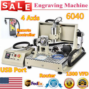 Usb 4 Axis 6040 Router Engraver 3d Diy Milling Driiling Machine 1500w Spindle